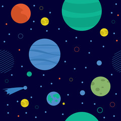 Awesome cosmic seamless pattern with earth, moon, stars and comets.