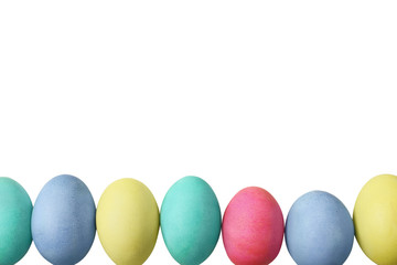Easter Eggs Over White Background
