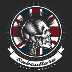 Skull punk vintage emblem.