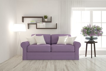 White room with violet sofa. Scandinavian interior design