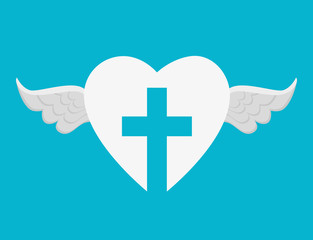 heart with cross religious symbol vector illustration design