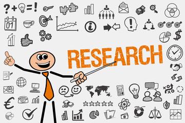 Research / Mann mit Symbole