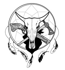 vector black and white sketch of a tattoo, bull skull cow on the background of Dreamcatcher, an ax and a musket, cowboy and Indian theme on a white background