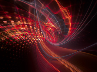 Abstract background element. Three-dimensional composition of wave shapes, grids and particles. Science and technology concept. Red and black colors.