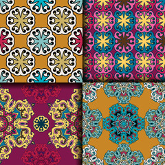 Deurstickers Marokkaanse Tegels Vector abstract seamless patchwork pattern. Arabic tile texture with geometric and floral ornaments. Decorative elements for textile, book covers, print, gift wrap. Vintage boho style.