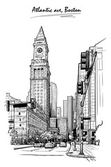 Panorama of the Embarcadero ferry building in San Francisco and palm tree alley. Cityscape, urban hand drawing. Sketch isolated on white background. EPS10 vector illustration.