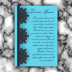 Wedding invitation or greeting card with vintage lace ornament. Mock-up for laser cutting. Vector illustration.
