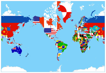Wall Mural - World Map Flags on a blue background - America in center