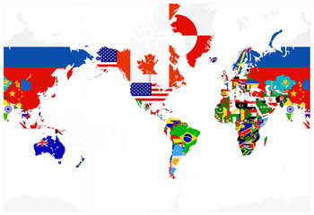 Wall Mural - World Map Flags - America in center - Isolated on white