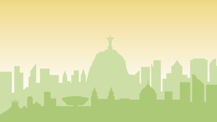Deurstickers Brazil silhouette architecture buildings town city country travel