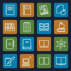 Set of 16 book outline icons