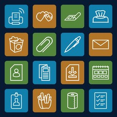 Set of 16 paper outline icons