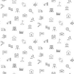 Real estate icon seamless monochrome pattern.