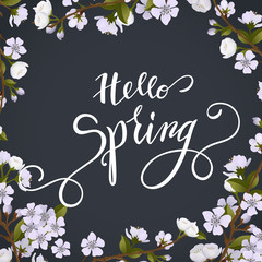Blossom tree and spring Lettering. Vector Illustration EPS10