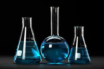 Laboratory Glassware Over Dark Background