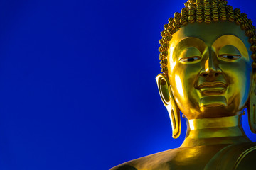 Golden large Buddha statue