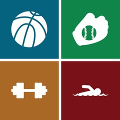 Set of 4 athletic filled icons