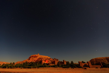Kasbah Ait Ben Haddou at night in the Atlas mountains of Morocco