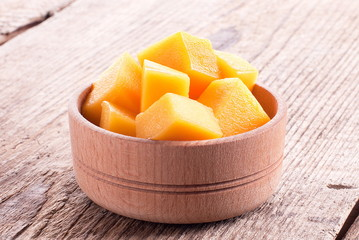 cubes of mango pulp in a bowl