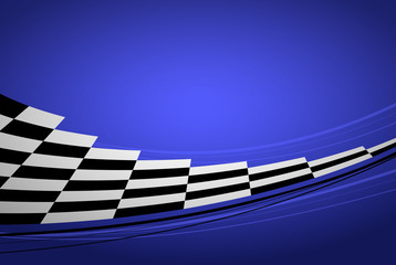 Blue racing background with checkered flag