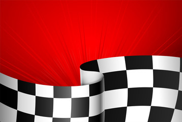 Red racing background with checkered flag