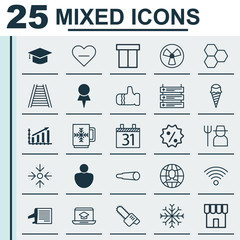 Set Of 25 Universal Editable Icons. Can Be Used For Web, Mobile And App Design. Includes Elements Such As Magnifying Glasses, Winter Cup, Shop And More.