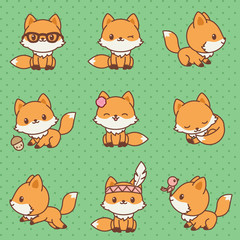 Kawaii foxes collection