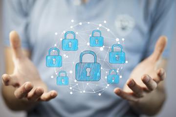 Businessman using digital padlock to secure