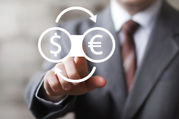 Businessman pressing button currency exchange dollar eur technology computer