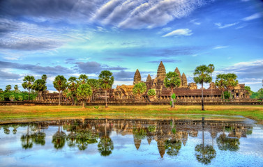 Angkor Wat seen across the lake, a UNESCO world heritage site in Cambodia