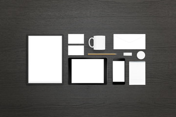 designer office desk isolated objects top view. designer office desk isolated objects top view tablet mobile phone with white screen stationery f