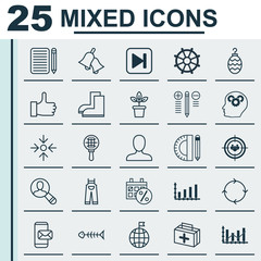 Set Of 25 Universal Editable Icons. Can Be Used For Web, Mobile And App Design. Includes Elements Such As Raise Diagram, Recurring Program, Education Tools And More.
