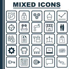 Set Of 25 Universal Editable Icons. Can Be Used For Web, Mobile And App Design. Includes Elements Such As Curriculum Vitae, Surf-Board, Digital Media And More.
