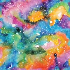 Watercolor galaxy illustration. Seamless pattern.