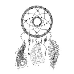 Beautiful dreamcatcher with beads and feathers