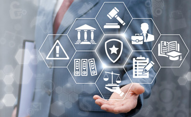 Law insurance and security business concept. Man offer shield star icon on virtual judicial screen on background of network justice icon. Safety judge court tribunal technology