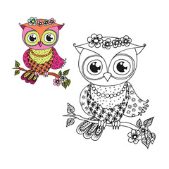 Cute cartoon owl sitting on tree branch