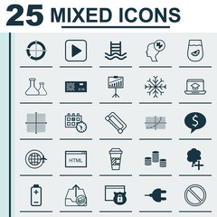 Set Of 25 Universal Editable Icons. Can Be Used For Web, Mobile And App Design. Includes Elements Such As Outgoing Earnings, Security, Business Deal And More.