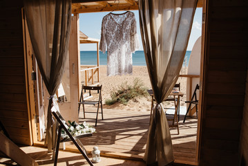 Seaview from wooden hut on beach. Luxury resort summer vacation concept.