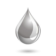Silver colored drop icon, like liquid metal or paint.