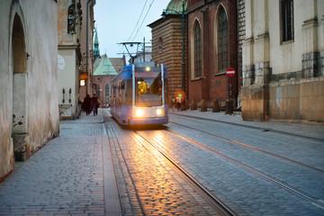 Tram on european city street