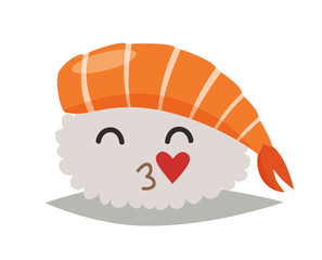 Sashimi  in love emoji vector illustration. Cute sushi emoticon icon. Sashimil with kiss funny sticker, flat cartoon style. Isolated emoticon on white background