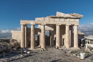 Monumental gateway Propylaea in the Acropolis of Athens, Attica, Greece