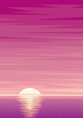 Sunrise Background / Cartoon ocean background with sunrise and copy space.