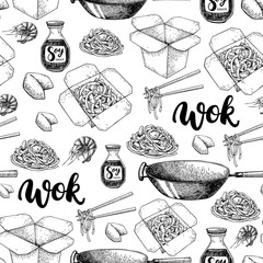 Wok vector hand drawn seamless pattern with lettering. Isolated chinese box, wok and chopsticks