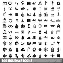 100 holidays icons set in simple style