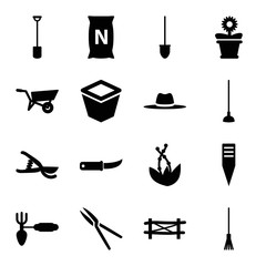 Set of 16 gardening filled icons