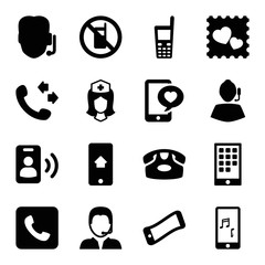Set of 16 telephone filled icons