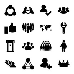 Set of 16 community filled icons