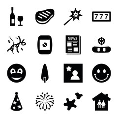 Set of 16 new filled icons